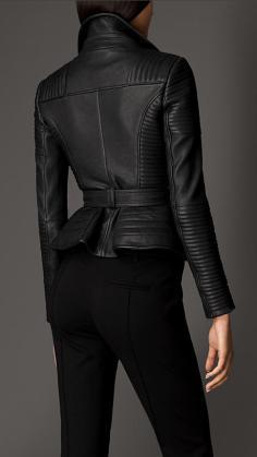Zip Detailed Biker Leather Jacket 2