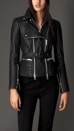 Zip Detailed Biker Leather Jacket